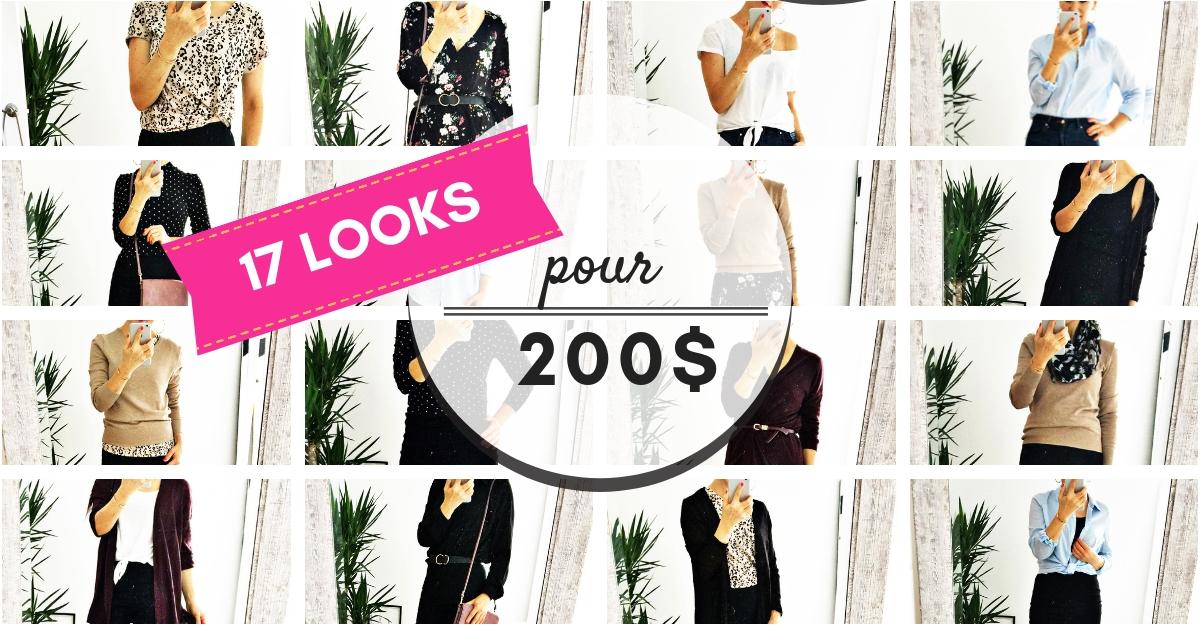 Garde-robe à 200$ = 17 jours de looks différents